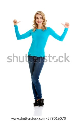 Full length woman pointing on herself. - stock photo