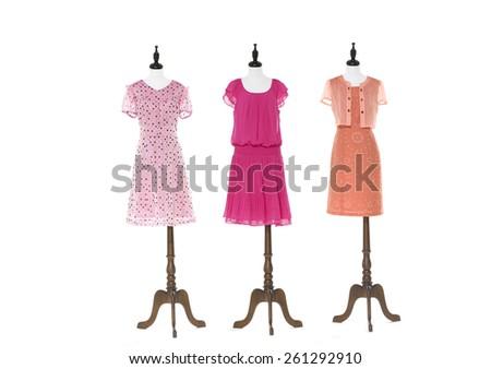 full-length women evening dress on three dummy - full-length - stock photo