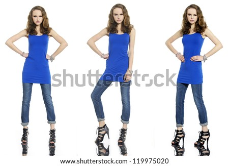 Full length young beautiful stylish three girl in jeans posing