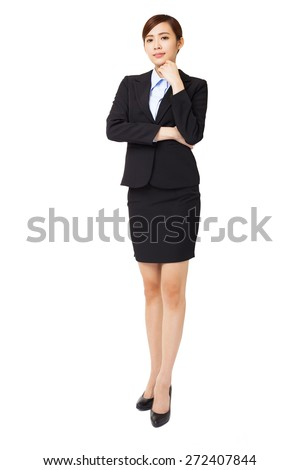 full length young  businesswoman with thinking gesture - stock photo