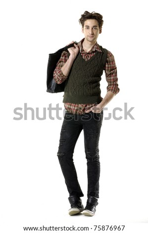 Full length young Casual man walking posing in the studio