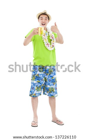 full length young man drinking beer at summer time - stock photo