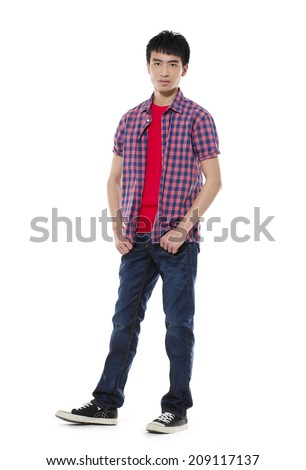 Full length Young man standing with hands on white background