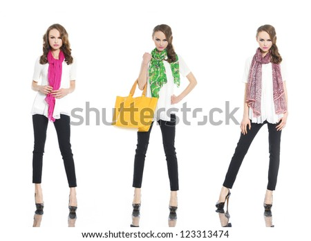 full length young woman with scarf and bag posing on white background - stock photo