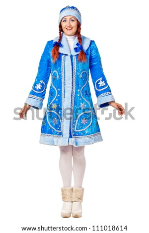 Full lengthPortrait of a smiling Snow Maiden. Isolated