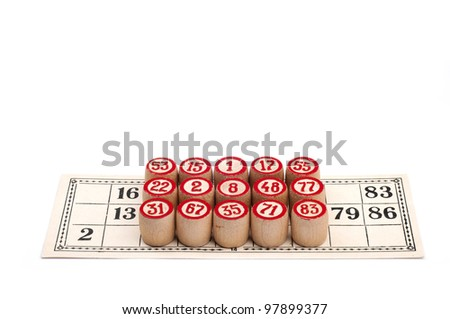 Full lotto card - victory isolated on white background and loupe