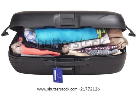 Full Luggage - isolated on white - stock photo