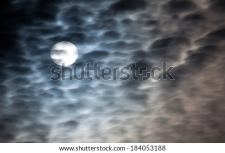 Full moon and beautiful clouds - stock photo