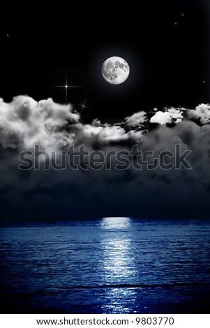 full moon and cloud reflection on sea
