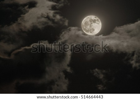 Full moon and clouds at night
