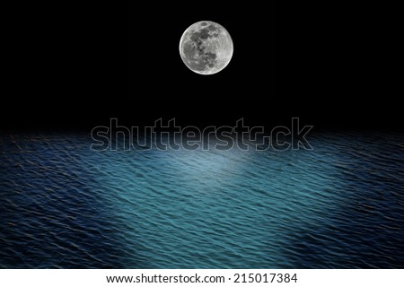 full moon and tides concept with ocean - stock photo
