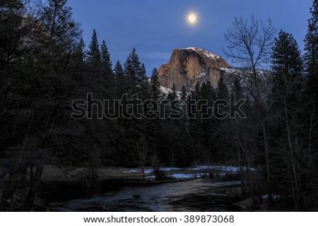 Full Moon at Half Dome - stock photo