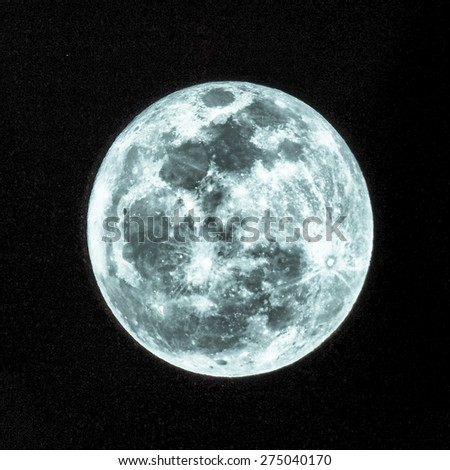 Full moon at night HDR high dynamic range telescope image - cool cold tone - stock photo