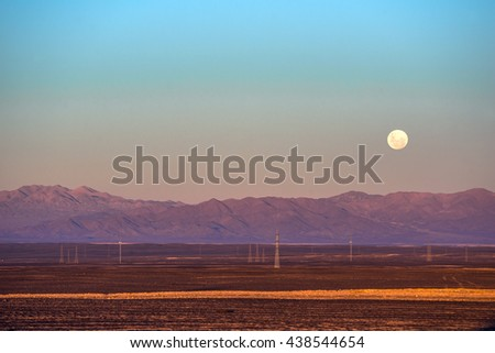 Full moon, Atacama desert of Chile