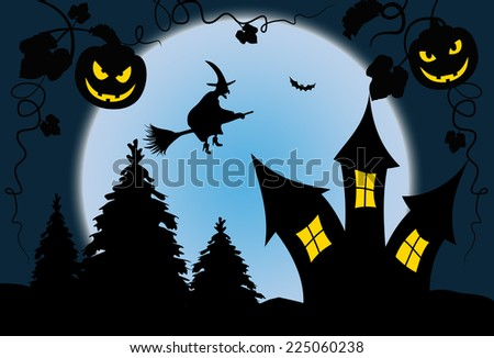 Full moon blue halloween night with witch - Illustration - stock photo