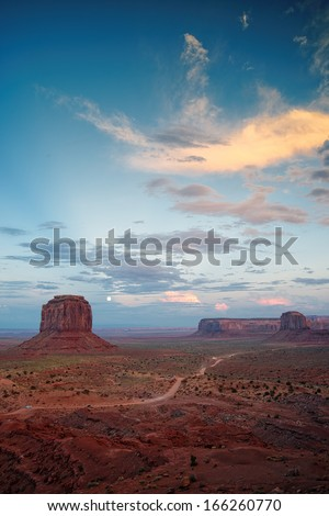 Full Moon Buttes and Mesas Monument Valley - stock photo