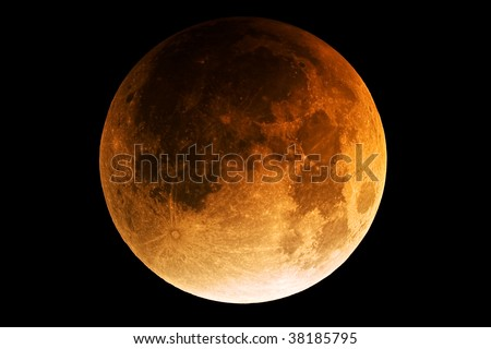 Full moon during lunar eclipse - stock photo