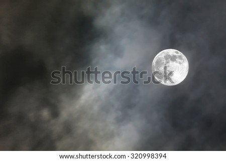 full moon in cloud background for halloween day