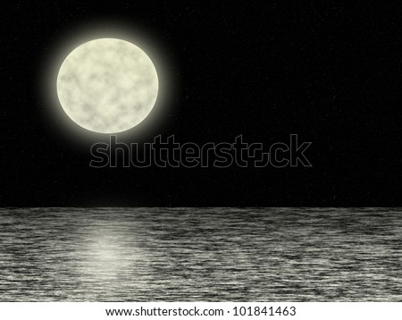 Full moon in the dark universe background with stars over the sea