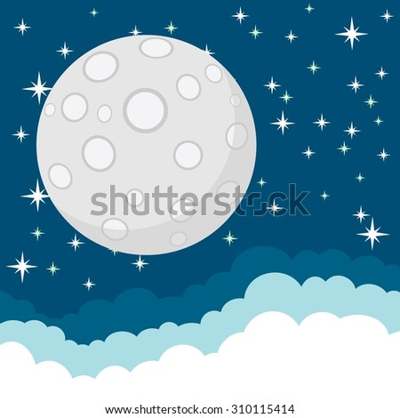 Full Moon in the Starry Cosmic Dark Blue Sky with Space for Text in the Clouds.Illustration - stock photo