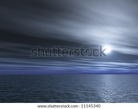 Full- moon night - stock photo
