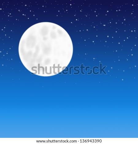 Full moon on starry night sky background - stock photo