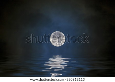 Full moon on the dark blue sky  with water reflection