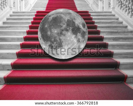 Full moon on the red carpet (no NASA images used, picture of the moon taken with my own telescope) - stock photo