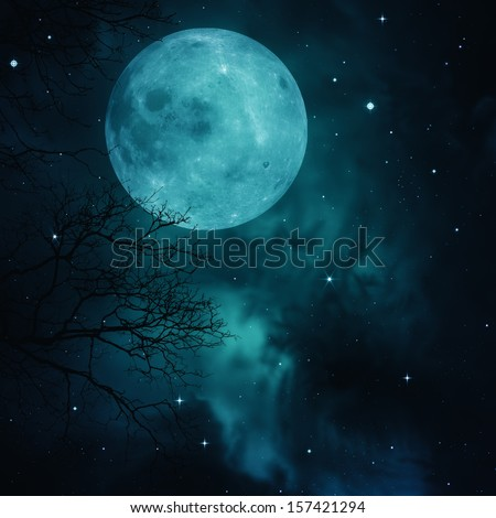 Full Moon on the skies, abstract natural backgrounds - stock photo