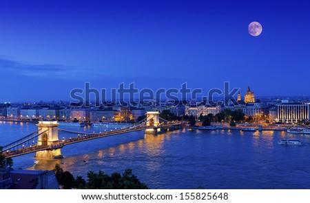 full moon over  Budapest,Hungary  - stock photo