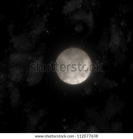 Full moon over dark sky with clouds and stars 3d