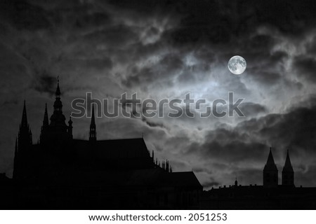 Full Moon over old castle - stock photo