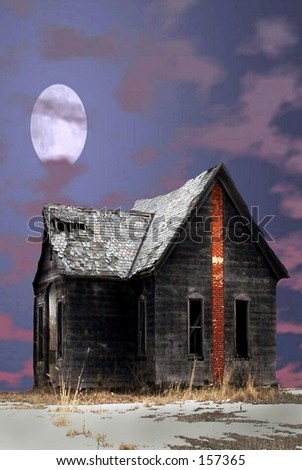 Full moon over spooky haunted house - stock photo