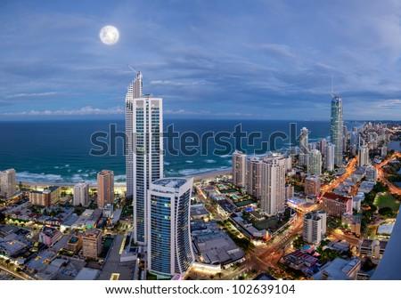 Full moon over Surfers Paradise, Gold Coast, Australia - stock photo