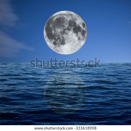 Full moon over the dark blue sea at night with stars (taken with my own telescope, no NASA images used) - stock photo