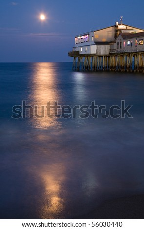 Full moon over the Old Orchard Beach Pier