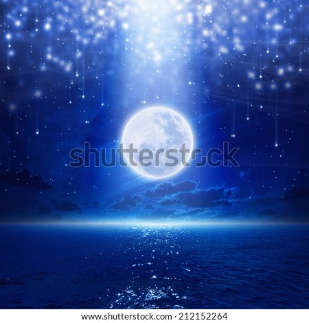 Full moon party background, night sky with full moon and reflection in sea, falling stars, glowing horizon. Elements of this image furnished by NASA - stock photo