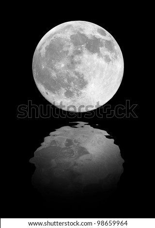 Full moon reflection on cold night water - stock photo