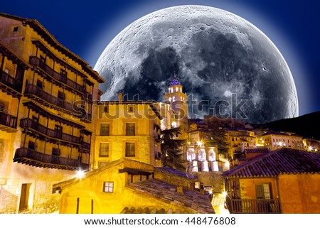 Full moon scenery.Village scenicl .Looking at the stars. - stock photo