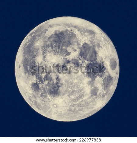 Full moon seen from a telescope from northern emisphere - HDR High Dynamic Range - stock photo
