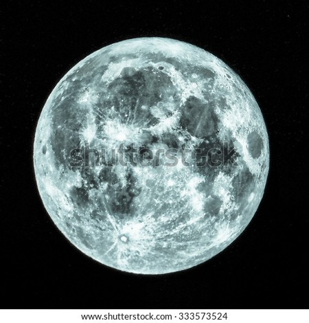 Full moon seen from a telescope from northern emisphere - HDR High Dynamic Range - cool cold tone - stock photo