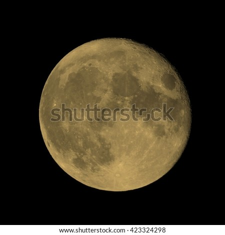 Full moon seen through a telescope image taken with my own telescope  no NASA images used vintage sepia - stock photo