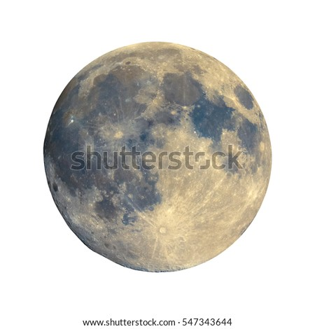 Full moon seen with an astronomical telescope, with enhanced colours to show the real colours of terrain surface - isolated over white background, with craters and mountains visible on the border