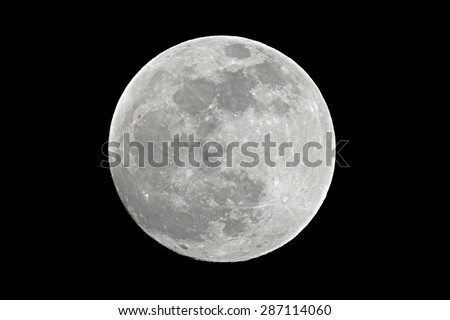 Full moon shot at 1200mm focal length - stock photo