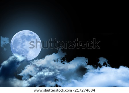 Full moon with blue and dark sky at night
