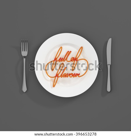 Full of Flavour Quote Typographical Background. minimal illustration with fork and knife 3D rendering - white grey and orange scheme - stock photo
