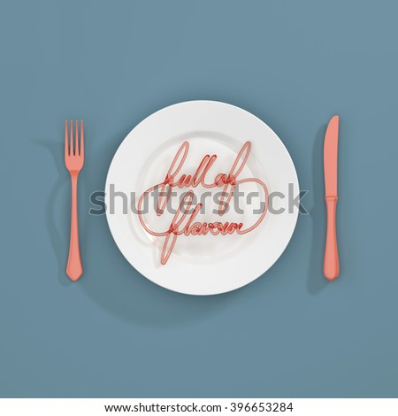 Full of Flavour Quote Typographical Background. minimal illustration with fork and knife 3D rendering - pink and blue scheme - stock photo