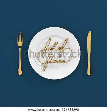 Full of Flavour Quote Typographical Background. minimal illustration with fork and knife 3D rendering - gold and blue scheme - stock photo