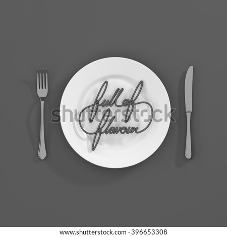 Full of Flavour Quote Typographical Background. minimal illustration with fork and knife 3D rendering - monochome scheme - stock photo