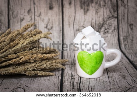 Full of love; sweet concept Valentine's Day with copy space on warm background - stock photo